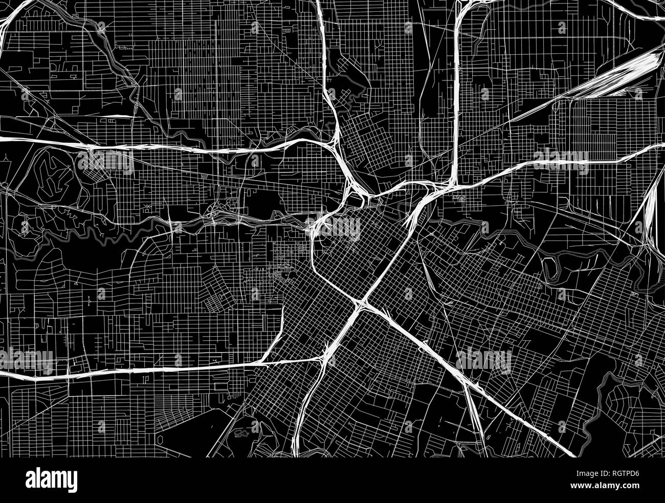 Black map of downtown Houston, U.S.A. This vector artmap is created as a decorative background or a unique travel sign. - Stock Vector