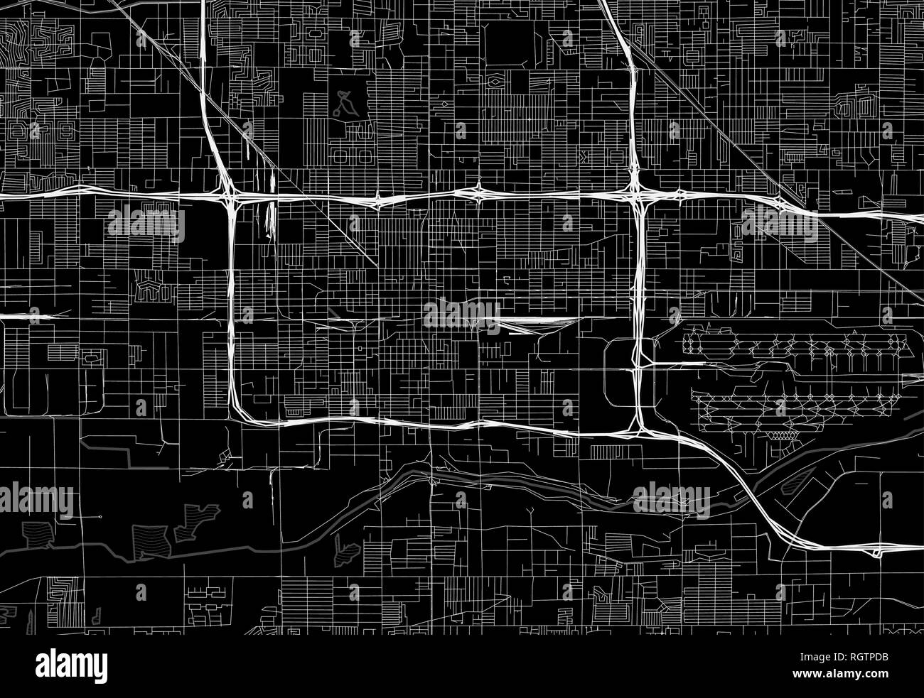 Black map of downtown Phoenix, U.S.A. This vector artmap is created as a decorative background or a unique travel sign. - Stock Vector