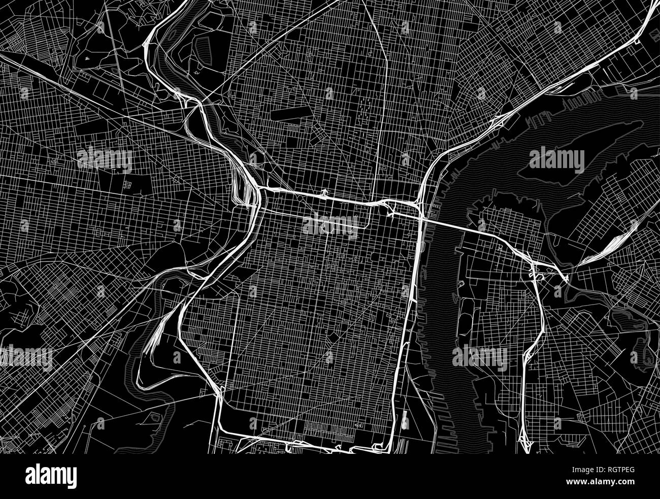 Black map of downtown Philadelphia, U.S.A. This vector artmap is created as a decorative background or a unique travel sign. - Stock Vector