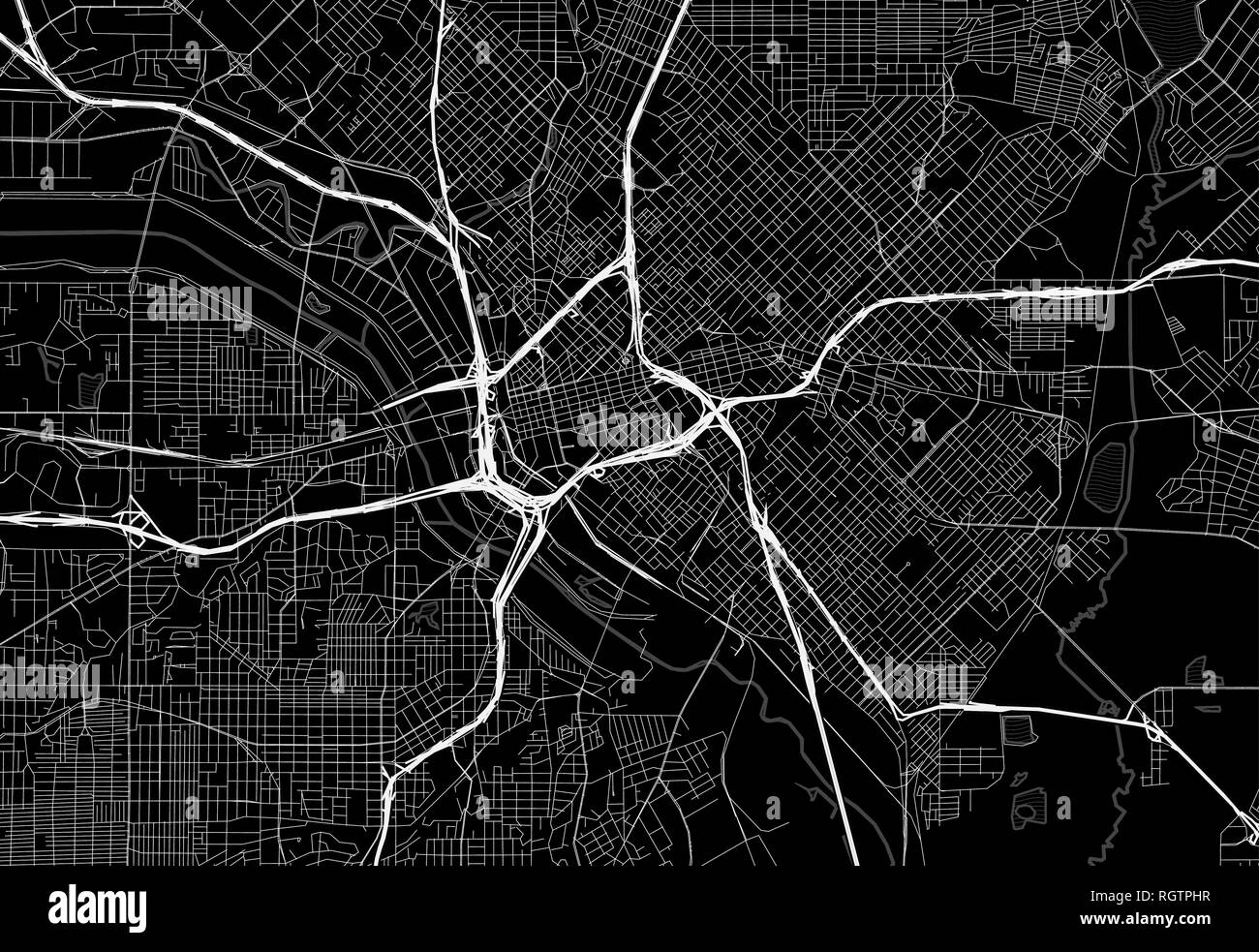 Black map of downtown Dallas, U.S.A. This vector artmap is created as a decorative background or a unique travel sign. - Stock Vector