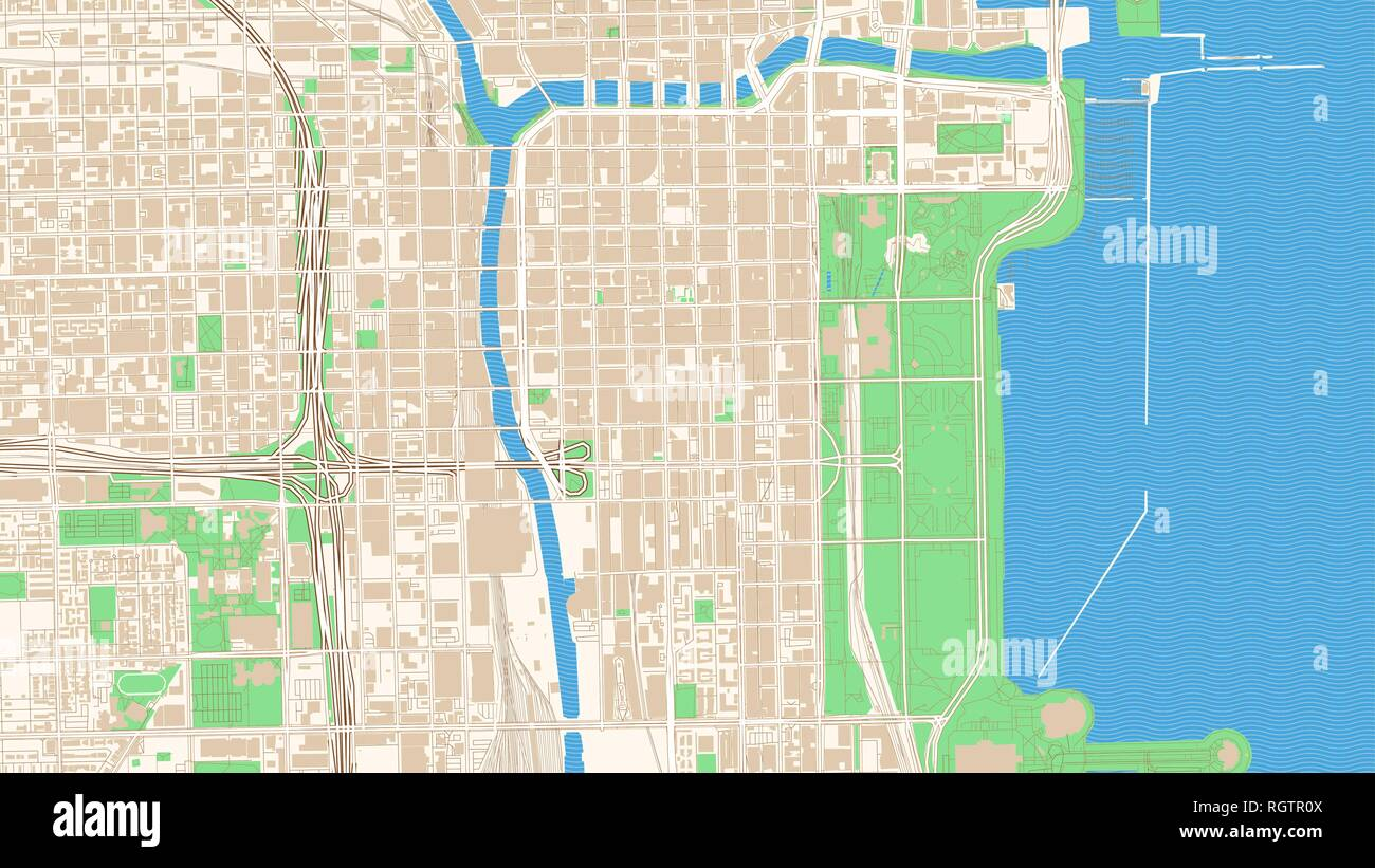 Street map of Chicago, Illinois. This classic colored map of Chicago contains several shapes for highways, bigger and smaller streets, water and parks - Stock Vector