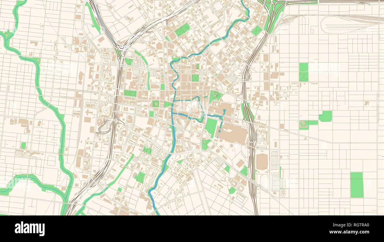 Street map of San Antonio, Texas. This classic colored map ...