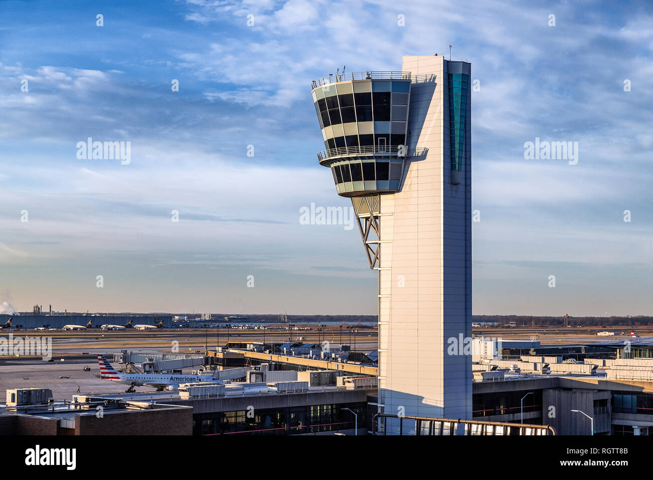 Air traffic control tower, Philadelphia International Airport, USA. - Stock Image
