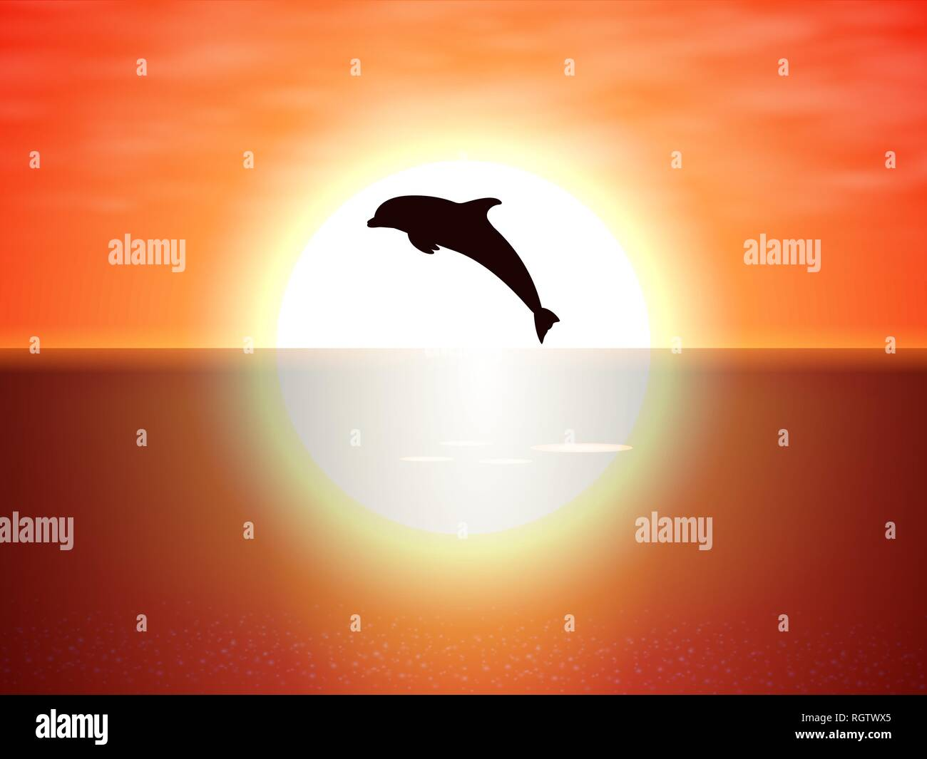 Dolphin jumping over the water of the sunset sun - Stock Vector