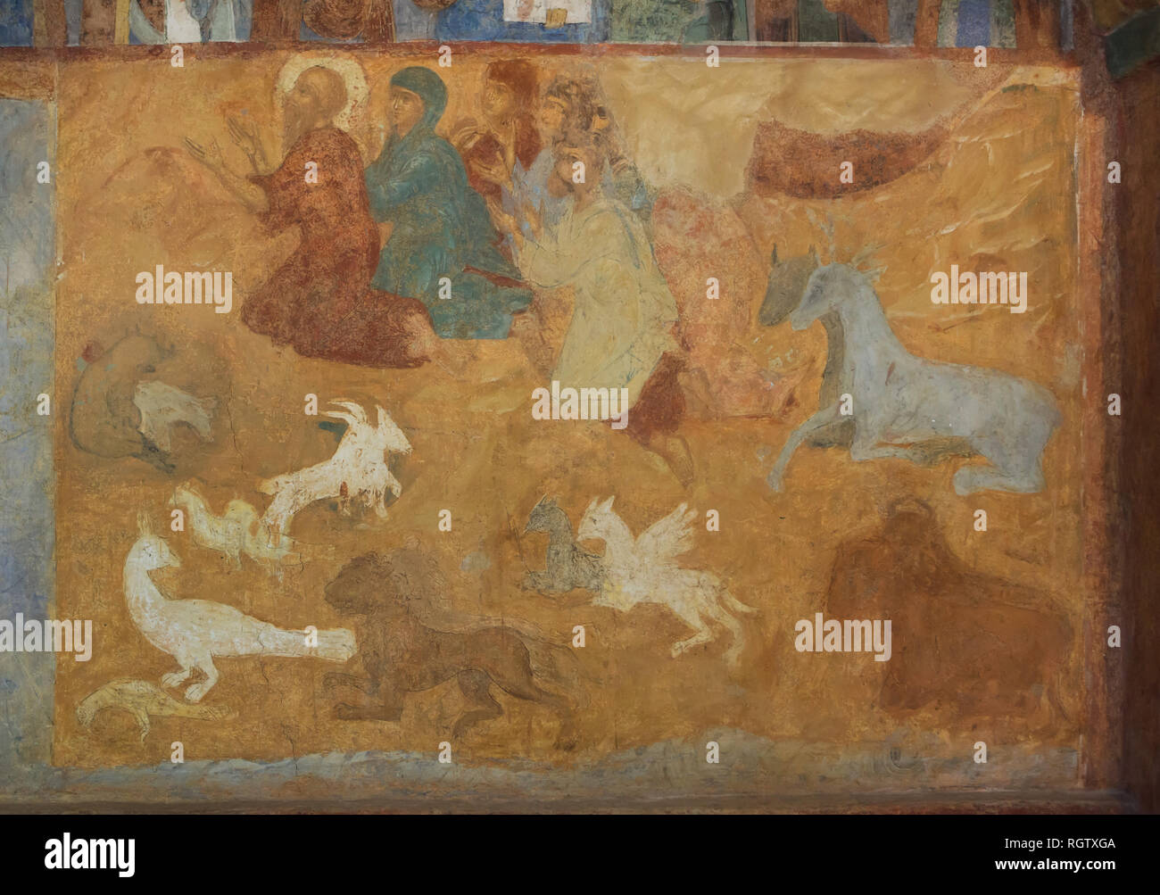 Noah's Sacrifice depicted in the fresco by Russian icon painter Lyubim Ageyev and his workshop (1640-1641) in the west gallery (papert) of the Church of Saint Nicholas Nadein (Nikolai Nadein) in Yaroslavl, Russia. Stock Photo