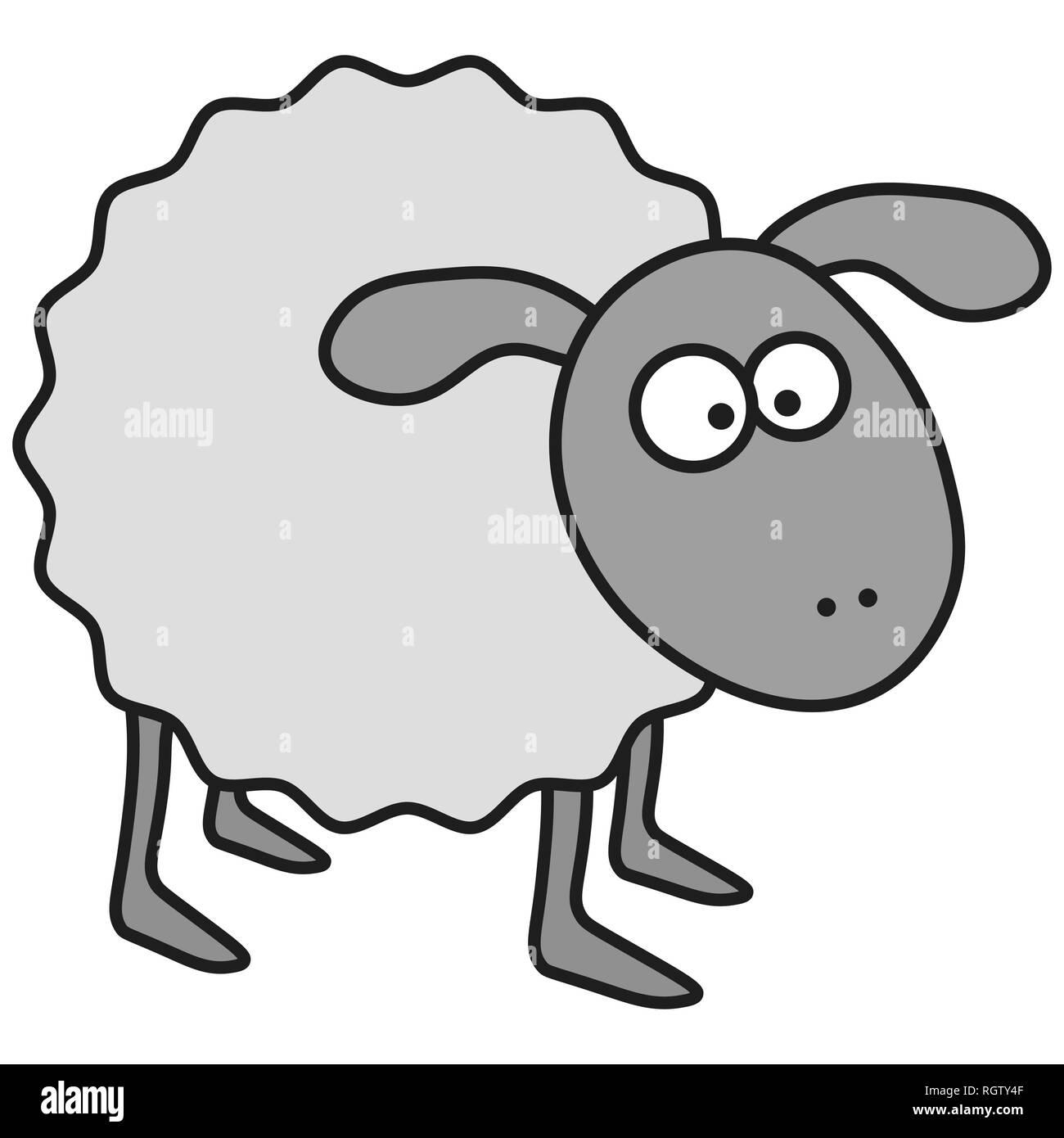 Sheep in cartoon style. On white background,  illustration - Stock Image