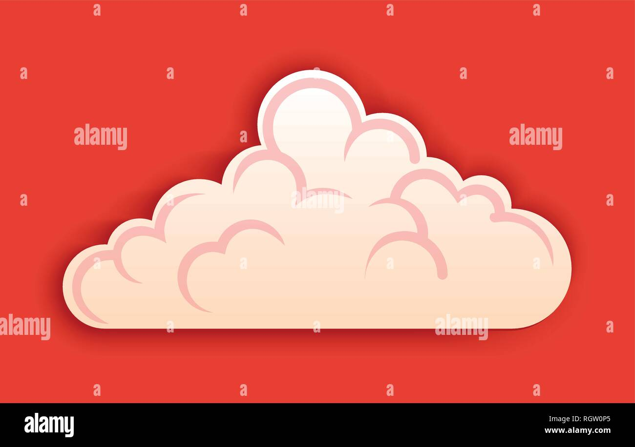 Fluffy cloud, vector clipart in cutted style on red background. - Stock Image