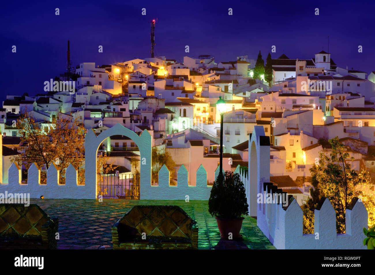 Nightime in the mountain top village of Comares, Axaquia, Malaga, Andalucia,Spain. 8th January 2019 - Stock Image