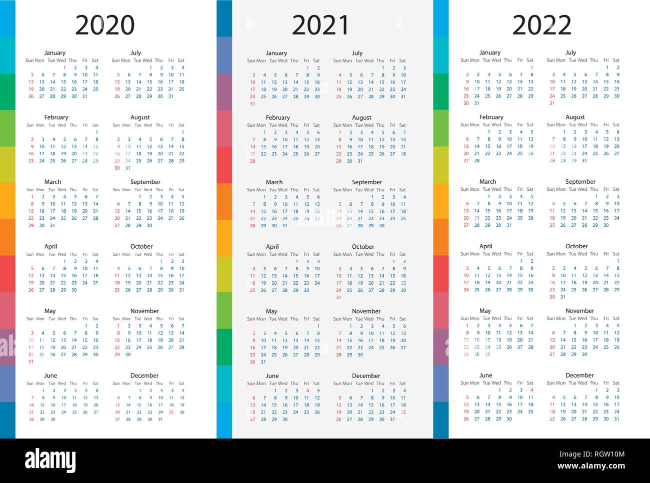 Calendar template set for 2020, 2021, 2022 years. Week starts on