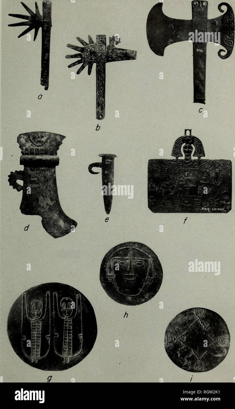Bulletin Ethnology Plate 143 Diaguita Metal Artifacts A B