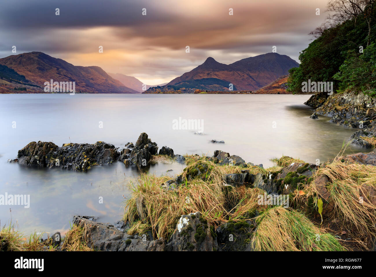 Loch Leven in Scotland with the Pap of Glencoe in the distance. - Stock Image