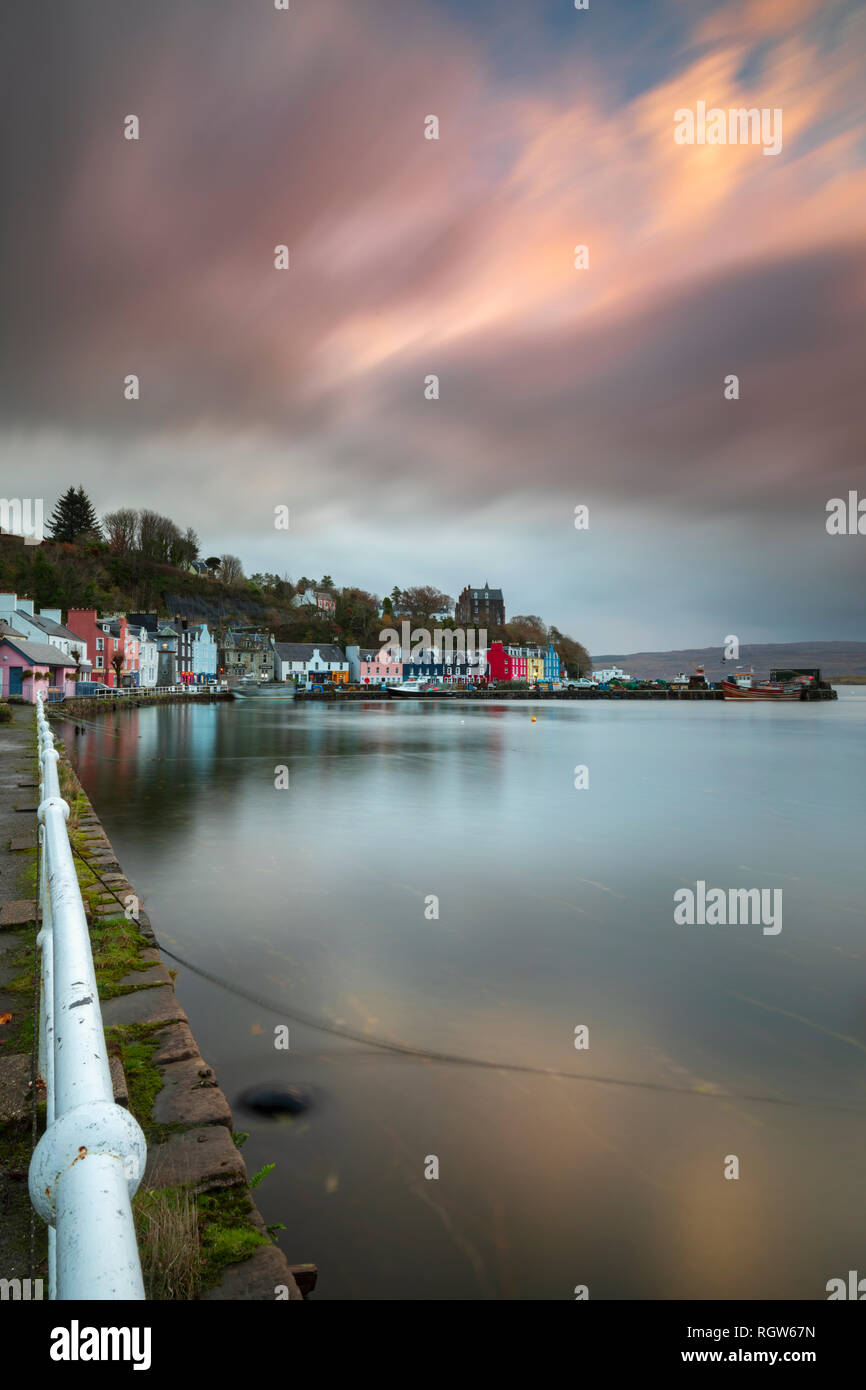 Tobermory Harbour captured at sunrise. - Stock Image