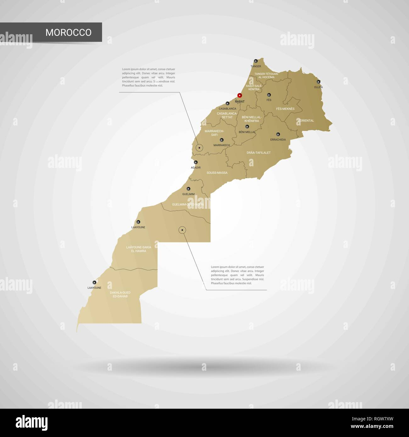 Stylized vector Morocco map. Infographic 3d gold map illustration ...