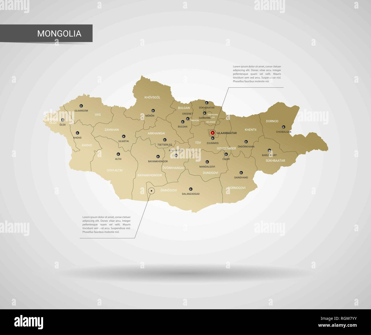 Stylized vector Mongolia map.  Infographic 3d gold map illustration with cities, borders, capital, administrative divisions and pointer marks, shadow; - Stock Image