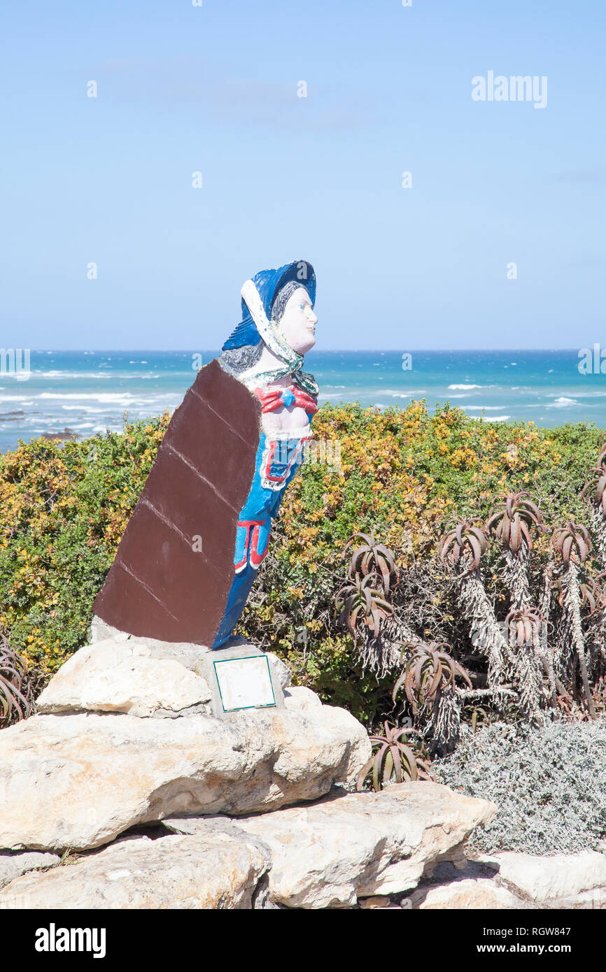 Figurehead of the French barque Marie Elise at Cape Agulhas Lighthouse, at the southernmost tip of Africa where the Indian and Pacific oceans meet. l' - Stock Image
