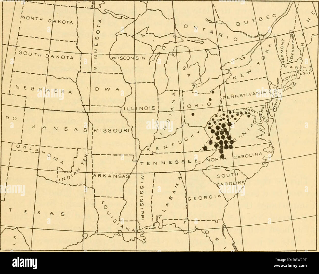 . Bulletin. Insects; Insect pests; Entomology; Insects; Insect pests; Entomology. BROOD IX 8EPTENDEGIM 1918. 49 confirmation. The large dots on the map indicate starred counties and the small ones doubtful records or scattered presence. The distribution, by States and counties, is as follows: Illinois.â(Whiteside) (?). Maryland.âHarford. Mass.vchusetts.âDukes* (Marthas Vineyard). New Jersey.âEssex. New York.â(Chautauqua) (?). North Carolina.âMoore (?). Ohio.âBelmont, Carroll* CoZwm6iana,* Hamilton, Jefferson* Mahoning * Fortage* Stark,* Trumbull* Pennsylvania.âAllegheny, Armstrong* Beaver* But - Stock Image