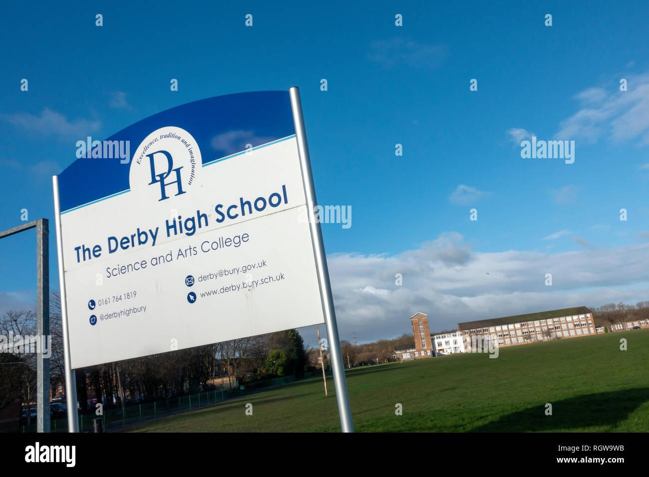 Derby High School in Bury, Lancashire. - Stock Image