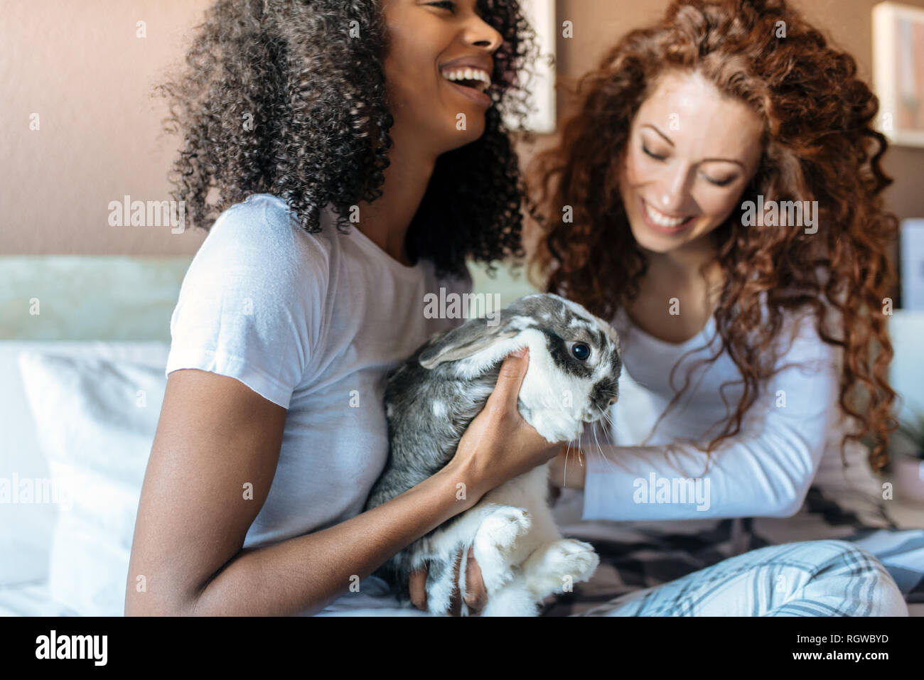 Young women in bed playing with little bunny - Stock Image