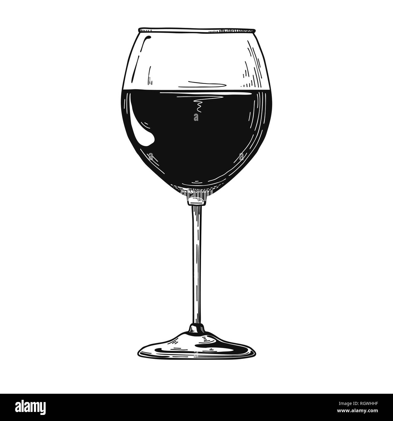 Standard red wine glass. Vector illustration on white background. Stock Vector