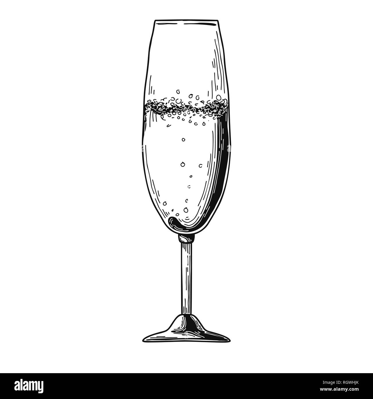 0ab31fe941a Champagne flute isolated on white background. Vector illustration on white  background - Stock Vector