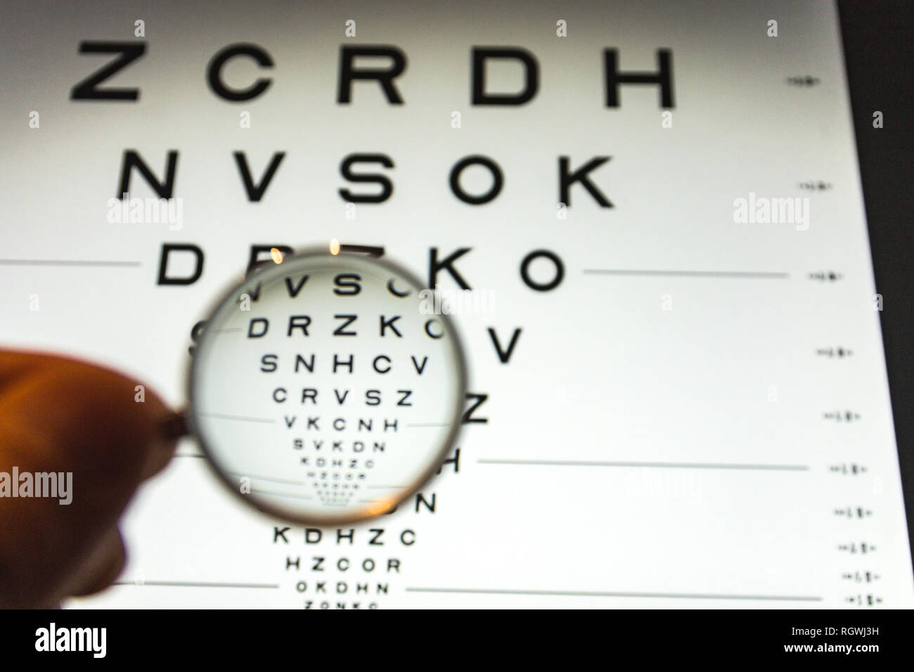 negative concave ophthalmic lens on a blurred background of