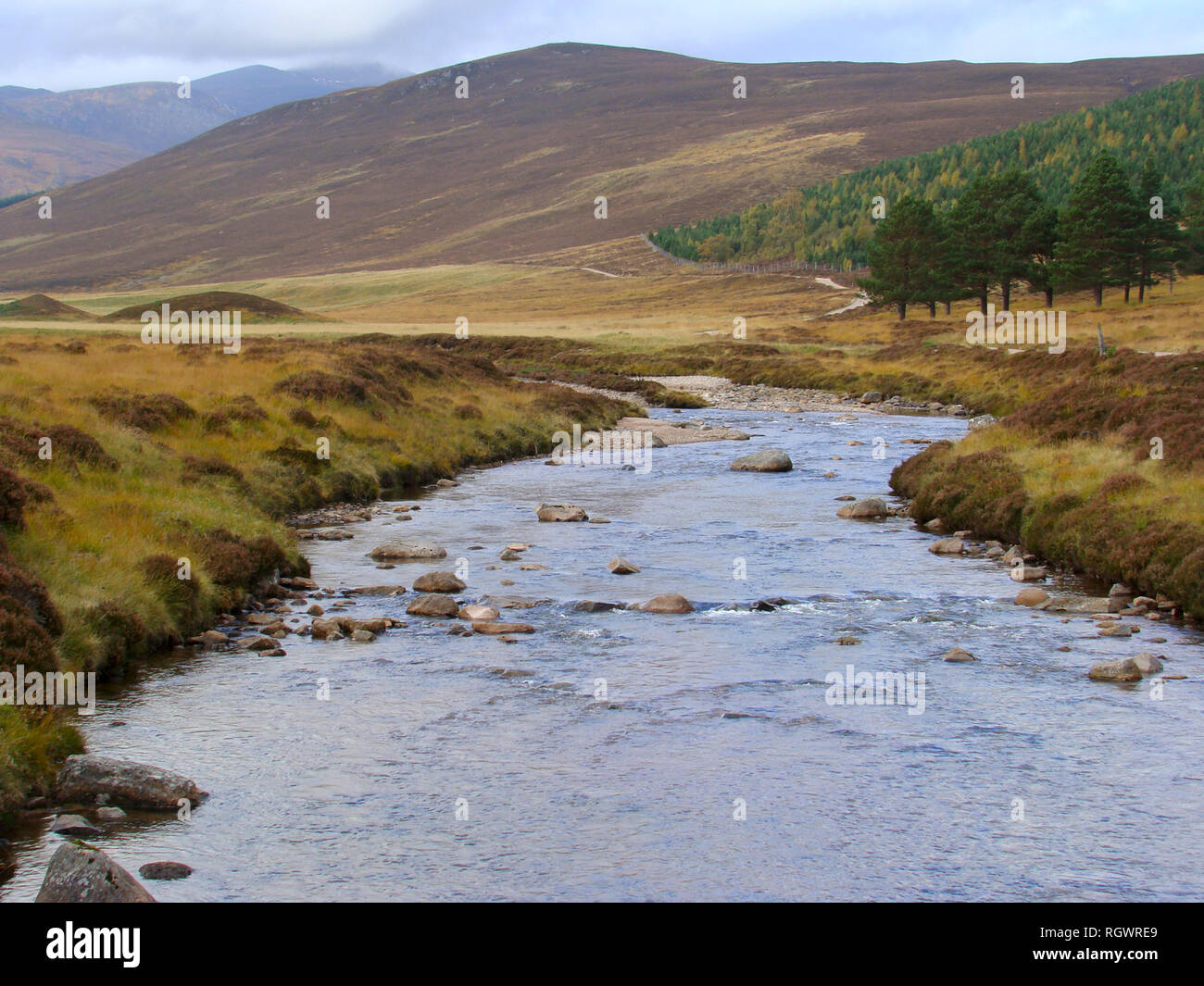 Rivers and streams at the hearth of the Cairngorms National Park, Scotland Stock Photo
