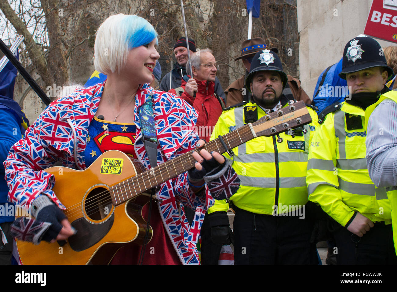 29 Jan 2019 London UK - Madeleina Kay (EU Supergirl) singing and being interviewed at SODEM (Stand of Defiance, European Movement) out side Parliament - Stock Image