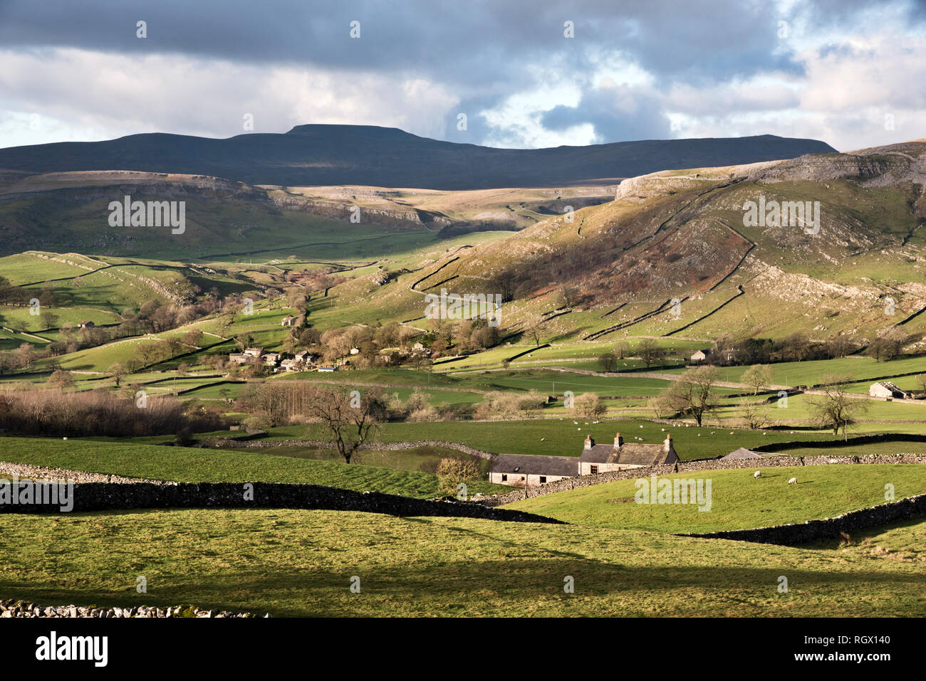 Winter view of Ingleborough peak and Wharfe hamlet, near Austwick, Yorkshire Dales National Park, UK - Stock Image