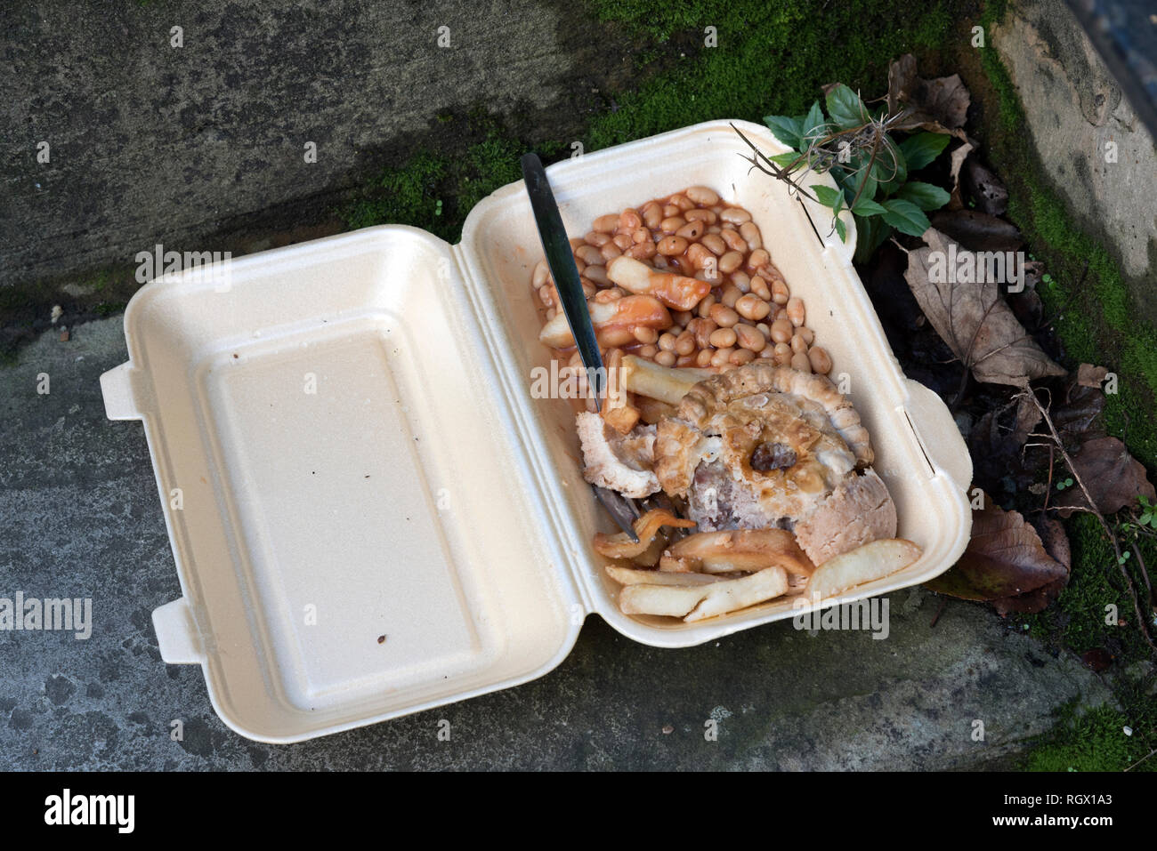 Take away food abandoned in the street, York, UK - Stock Image
