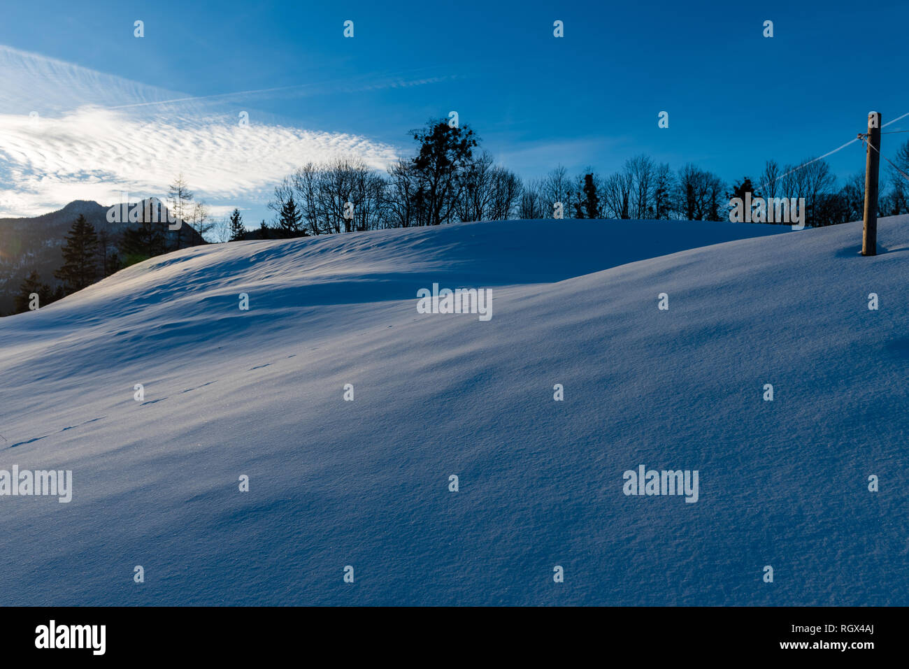 Last Sunrays on a Snowfield in Bayrisch Gmain, Bavaria, Germany - Stock Image