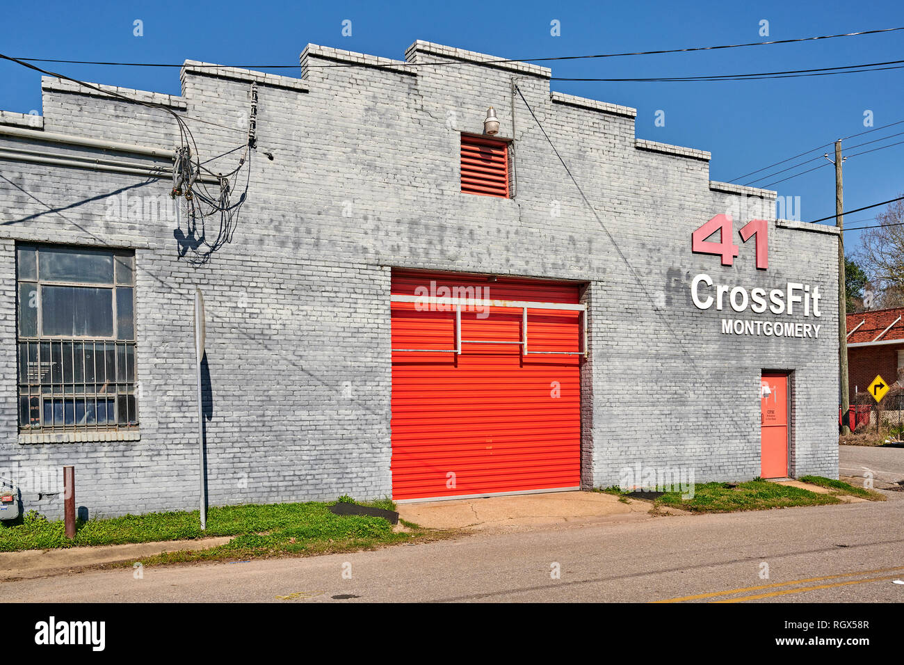 Crossfit front exterior entrance of the fitness center or workout gym or health club in Montgomery Alabama, USA. - Stock Image