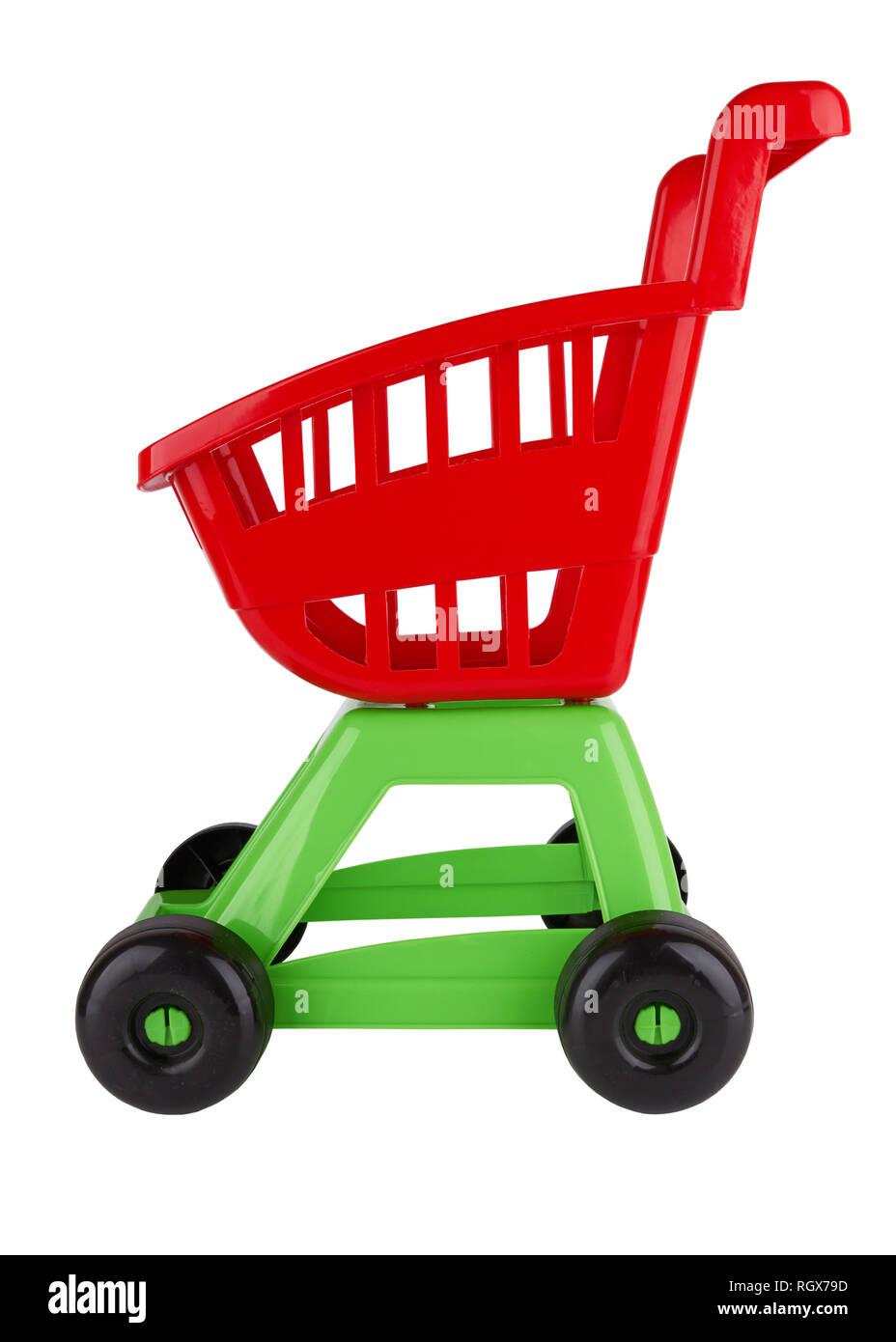 Toy shopping cart isolated on white background Stock Photo