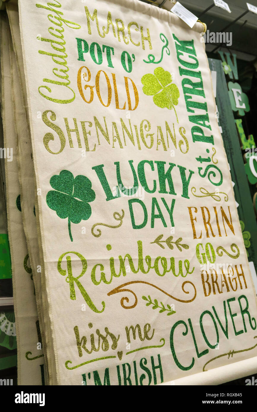 St Patrick's  Day Banner For Sale , Party City, NYC, USA - Stock Image