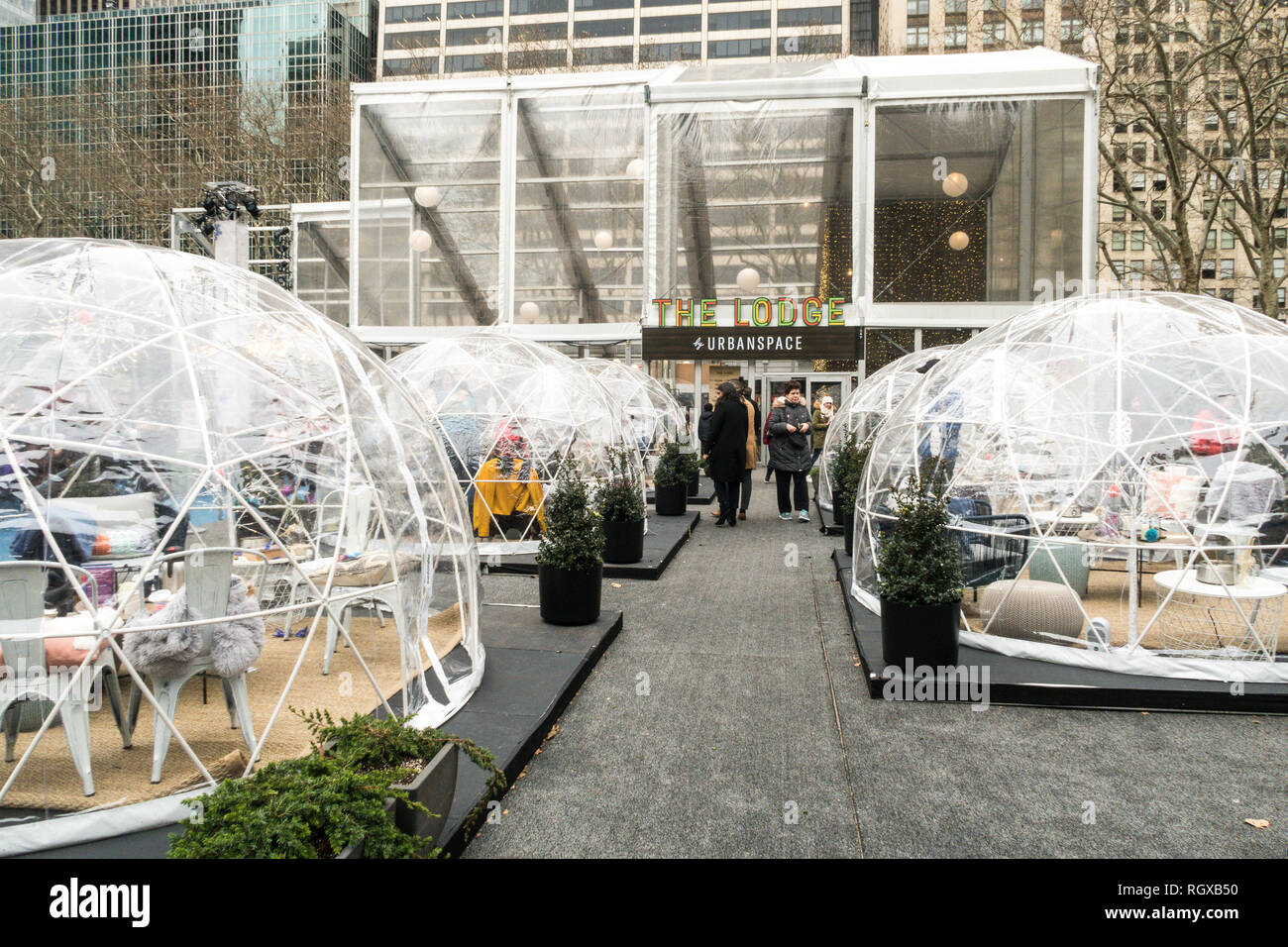 Frost Fest is a winter event in Bryant Park, New York City, USA - Stock Image