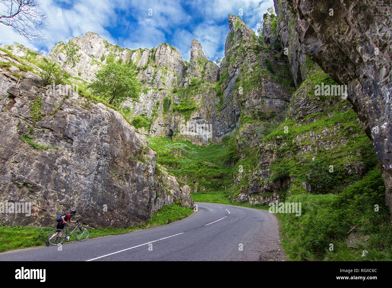 The amazing steep walls of Cheddar Gorge inside Mendip Hills is an awe limestone gorge on an idyllic natural landscape. Rugged terrain to enjoy nature - Stock Image
