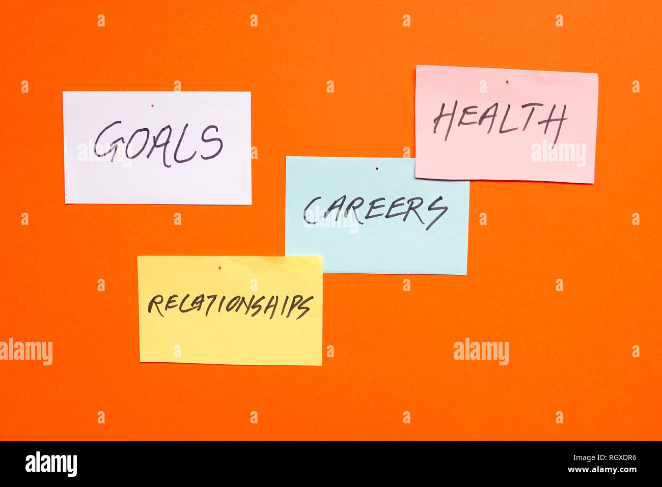 Goals in careers, health and relationships written on colored papers - Stock Image