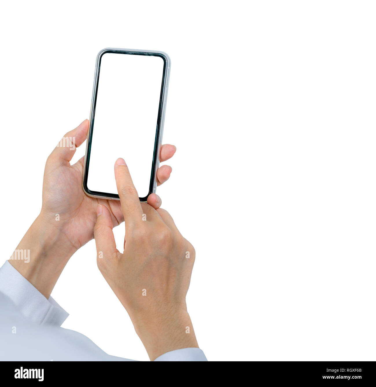 Woman's hand holding and using smartphone. Closeup hand touching smartphone with blank screen isolated on white background and copy space for text. - Stock Image