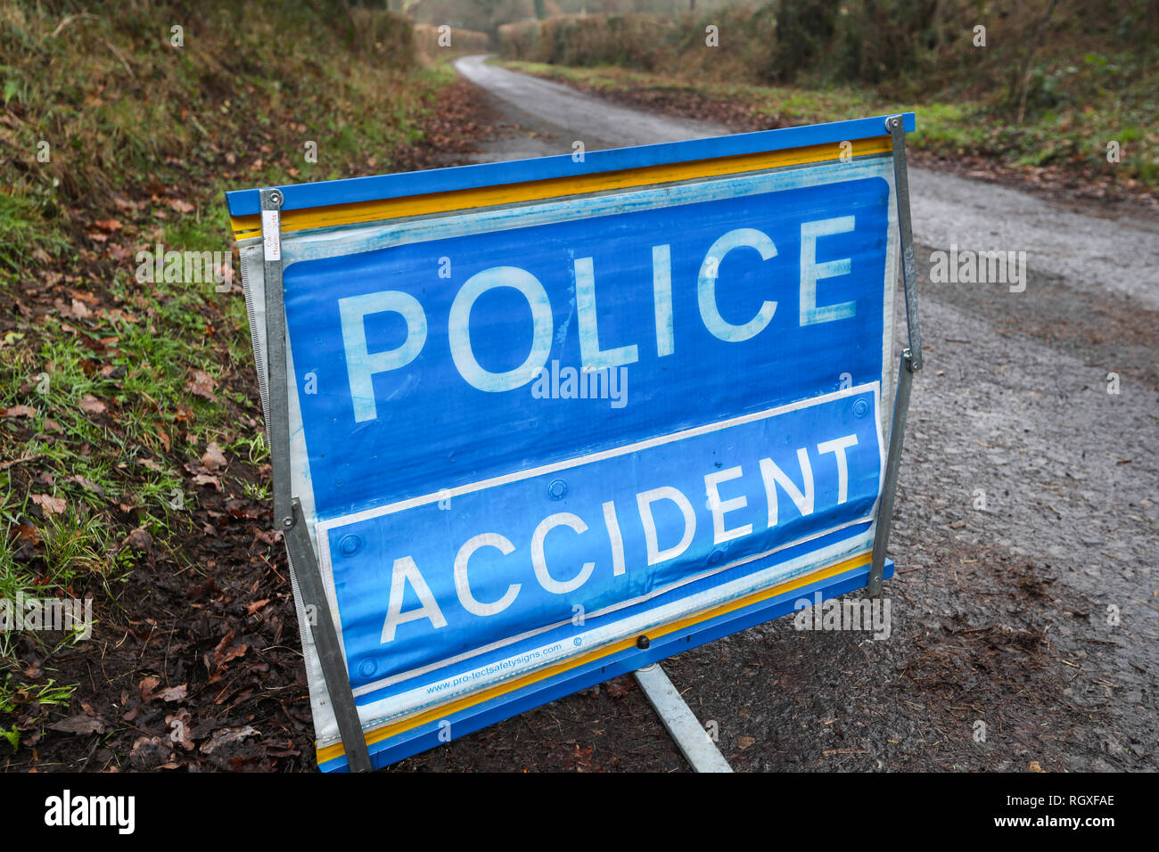Police accident road sign on a country lane at the scene of an accident - Stock Image