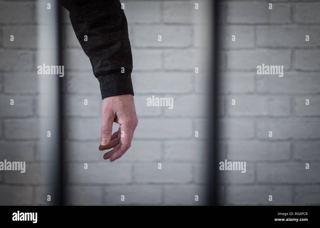 A prisoners arm hanging limp behind bars. Pictured posed by model to illustrate prison death and suicide issues - Stock Image