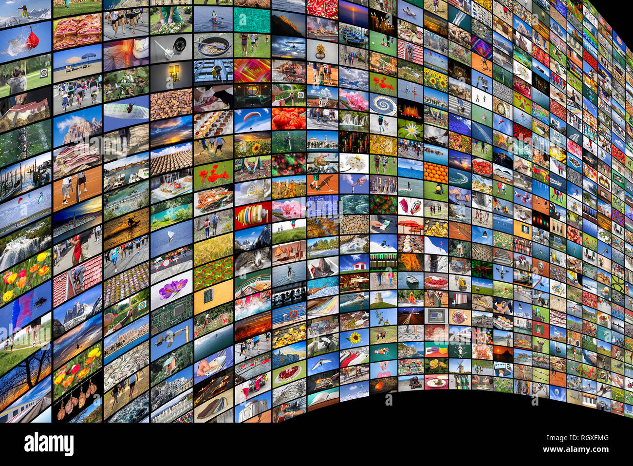 Giant multimedia widescreen video and image walls - Stock Image