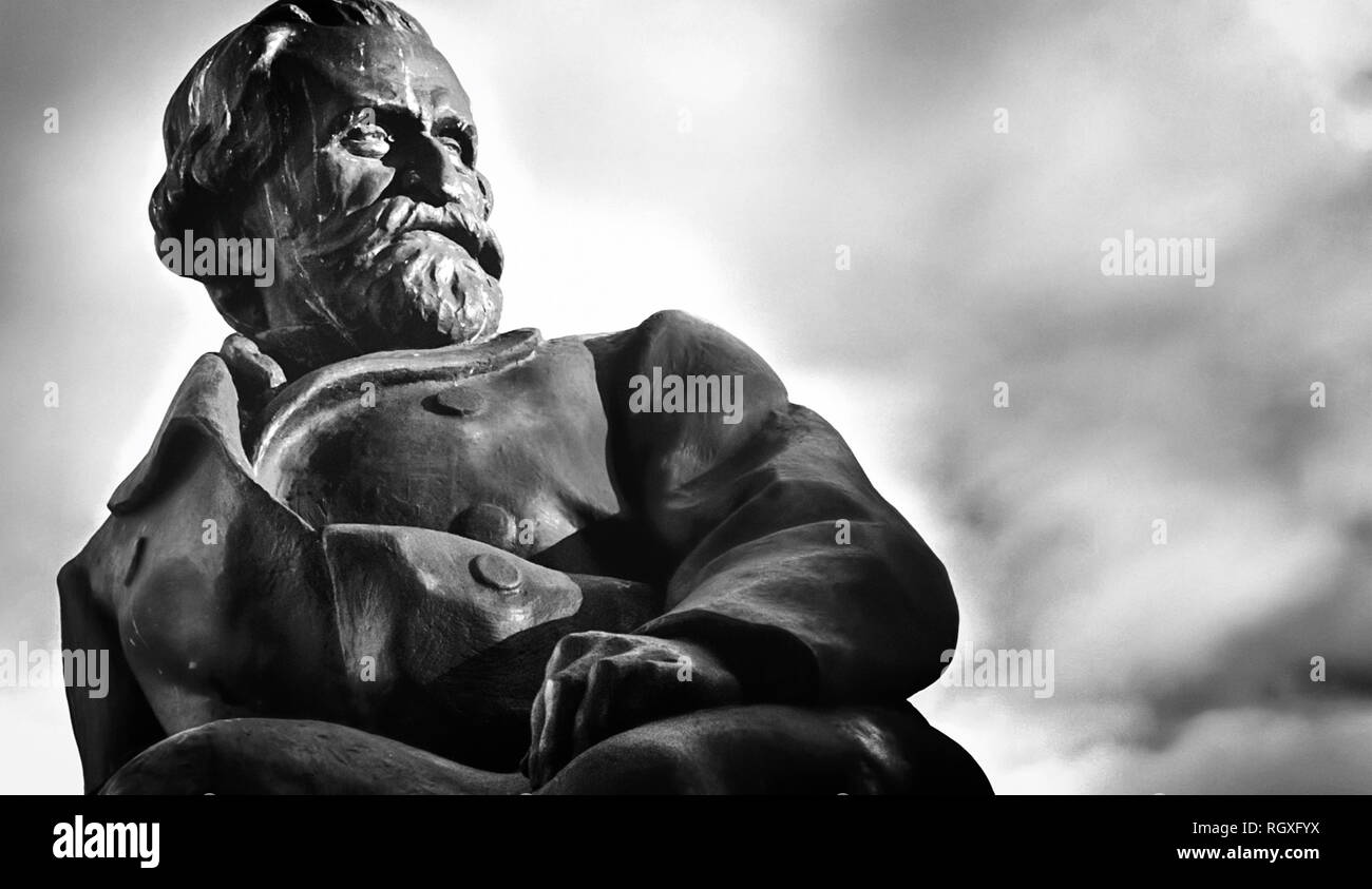 Monument of Giuseppe Verdi, the famous Italian composer. Stock Photo