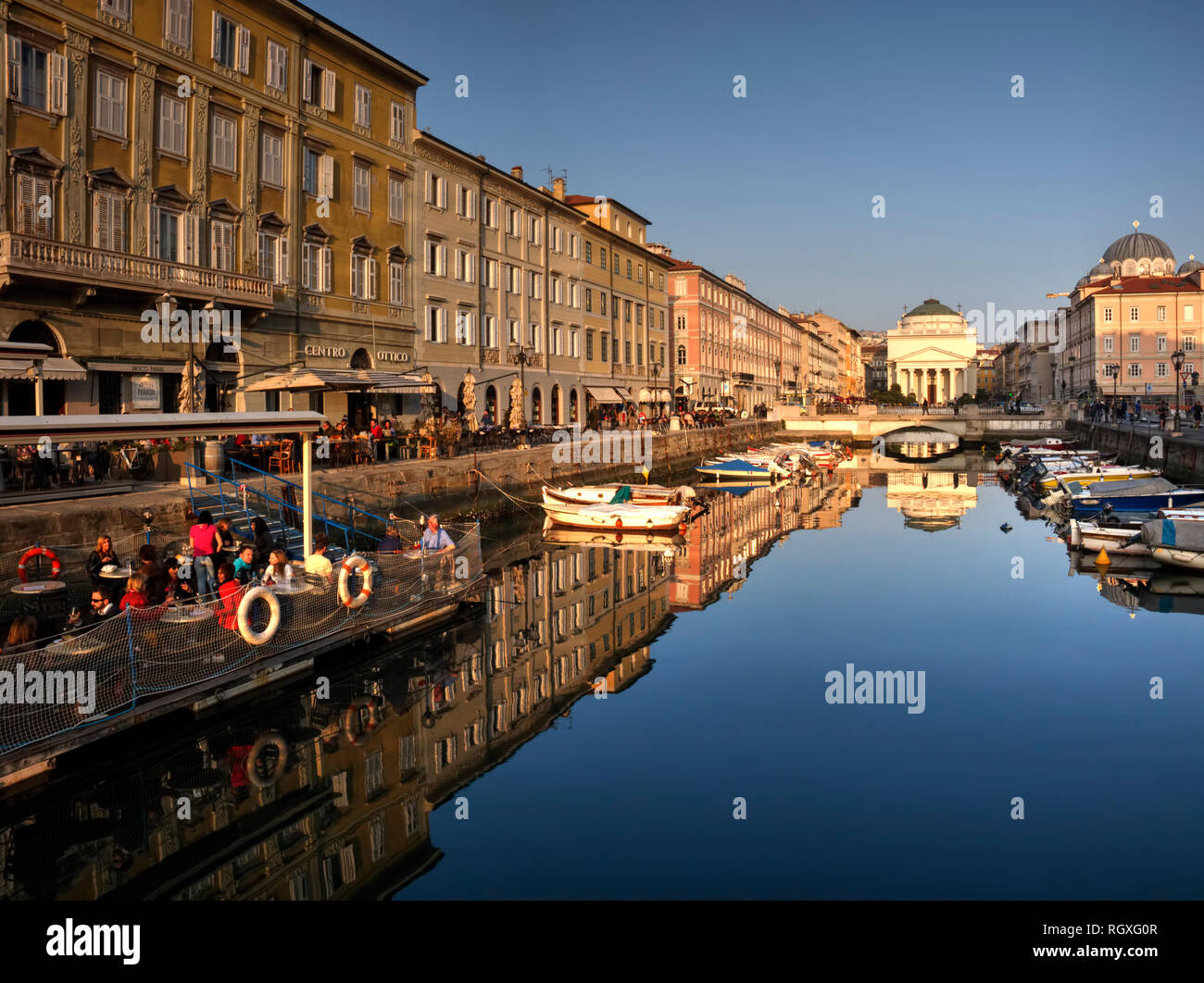 Trieste. Italy. The famous Canal and the St. Antonio church in the background. Stock Photo