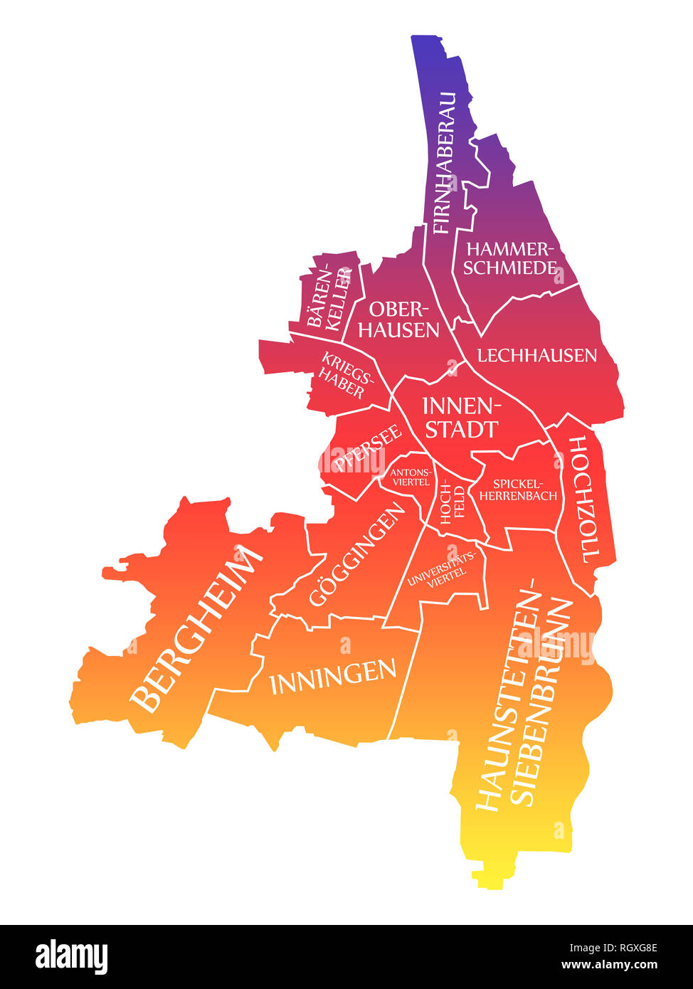 Augsburg City Map Germany De Labelled Rainbow Colored Illustration