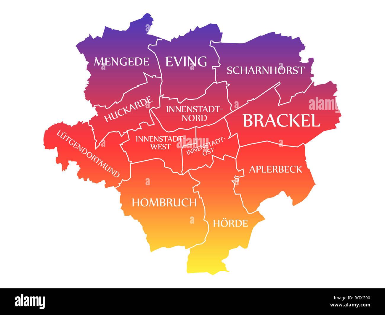 Dortmund City Map Germany De Labelled Rainbow Colored Illustration