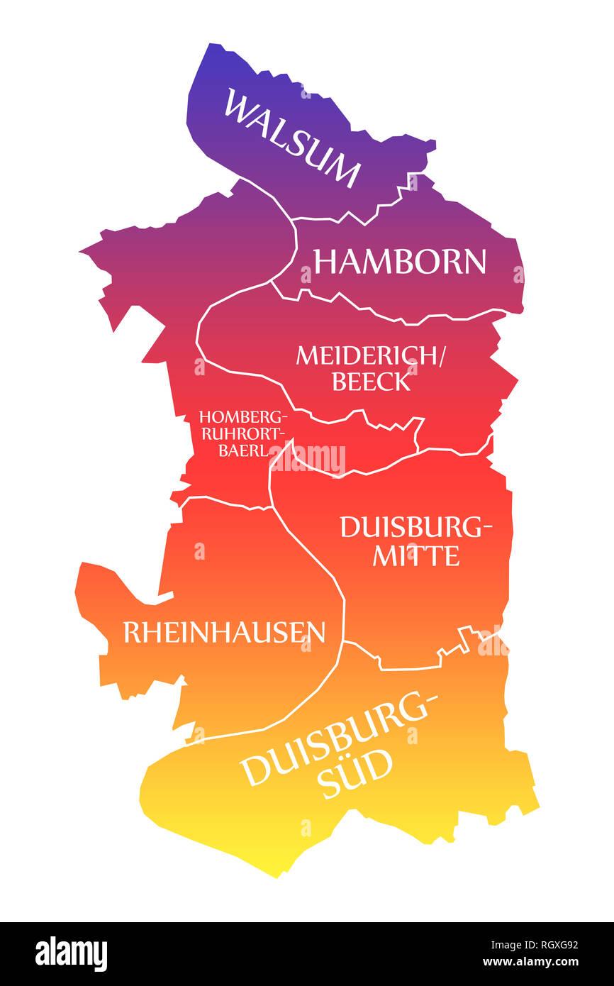 Duisburg City Map Germany De Labelled Rainbow Colored Illustration