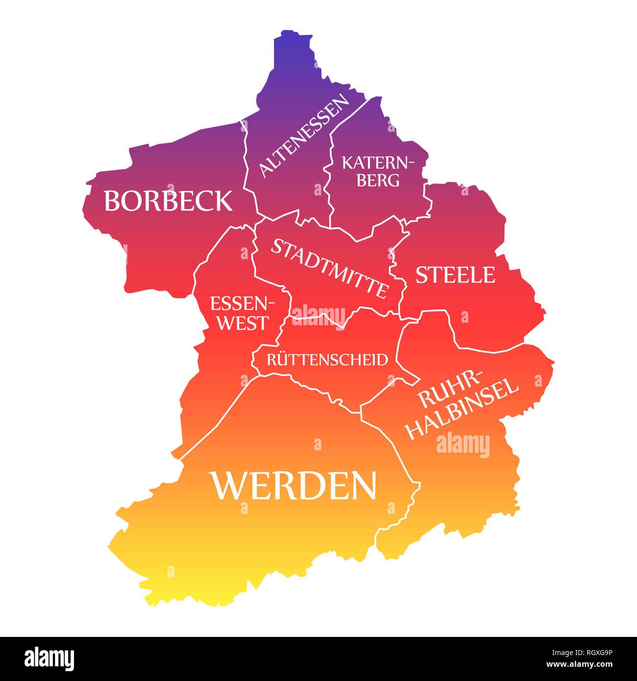 essen deutschland karte Essen City Map Germany DE labelled rainbow colored illustration