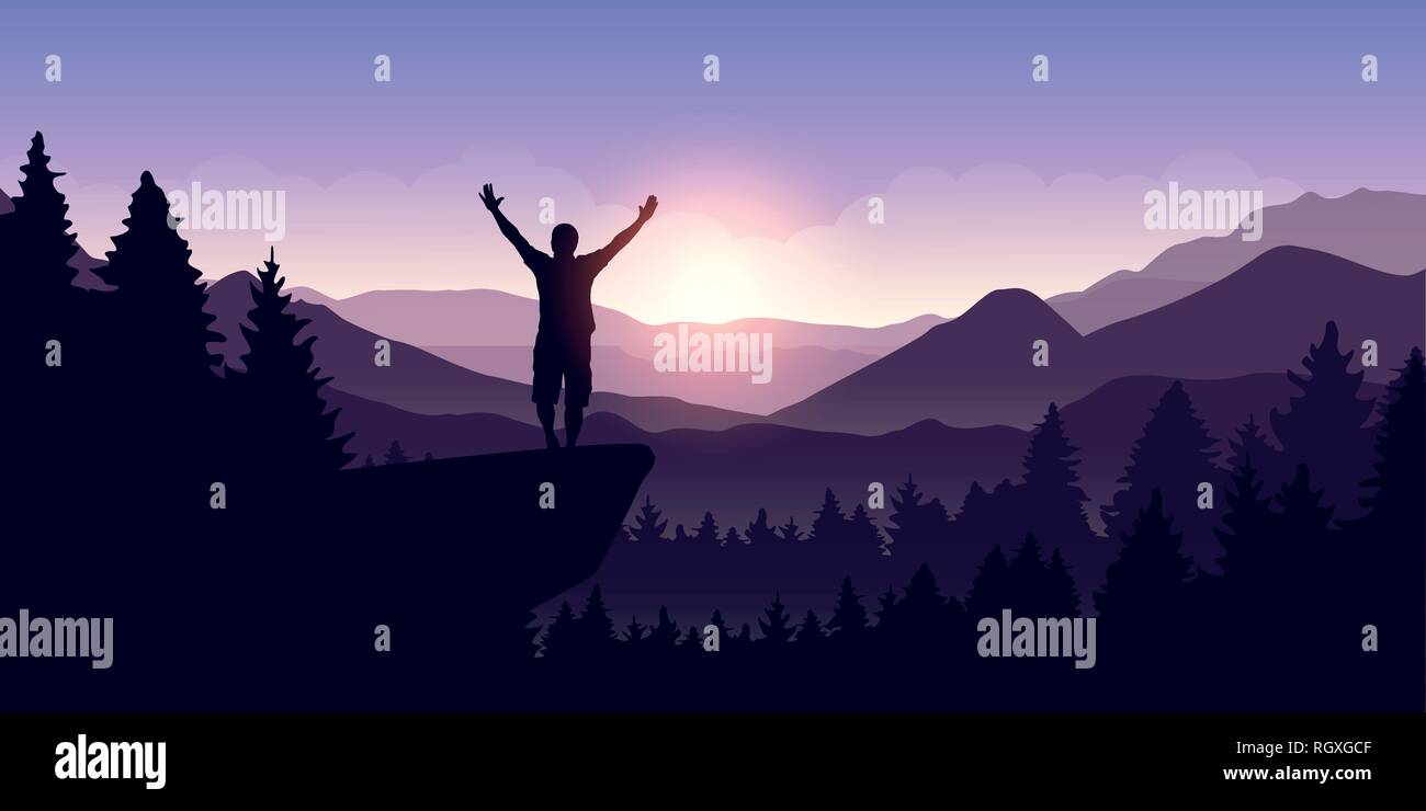 happy man with arms raised stands on top of a cliff in mountain landscape at sunrise vector illustration EPS10 - Stock Vector