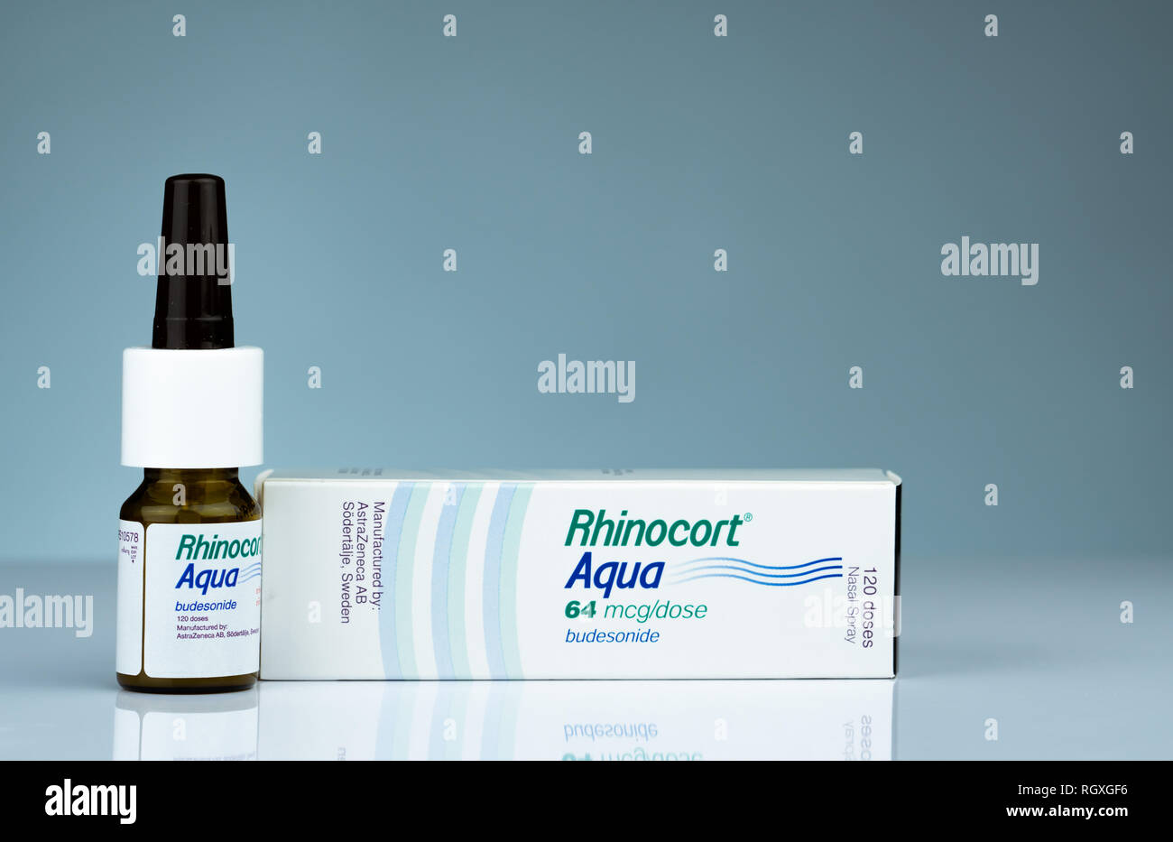CHONBURI, THAILAND-OCTOBER 17, 2018 : Rhinocort Aqua 64 mcg/dose 120 doses. Budesonide nasal spray product of Johnson & Johnson (Thailand). - Stock Image