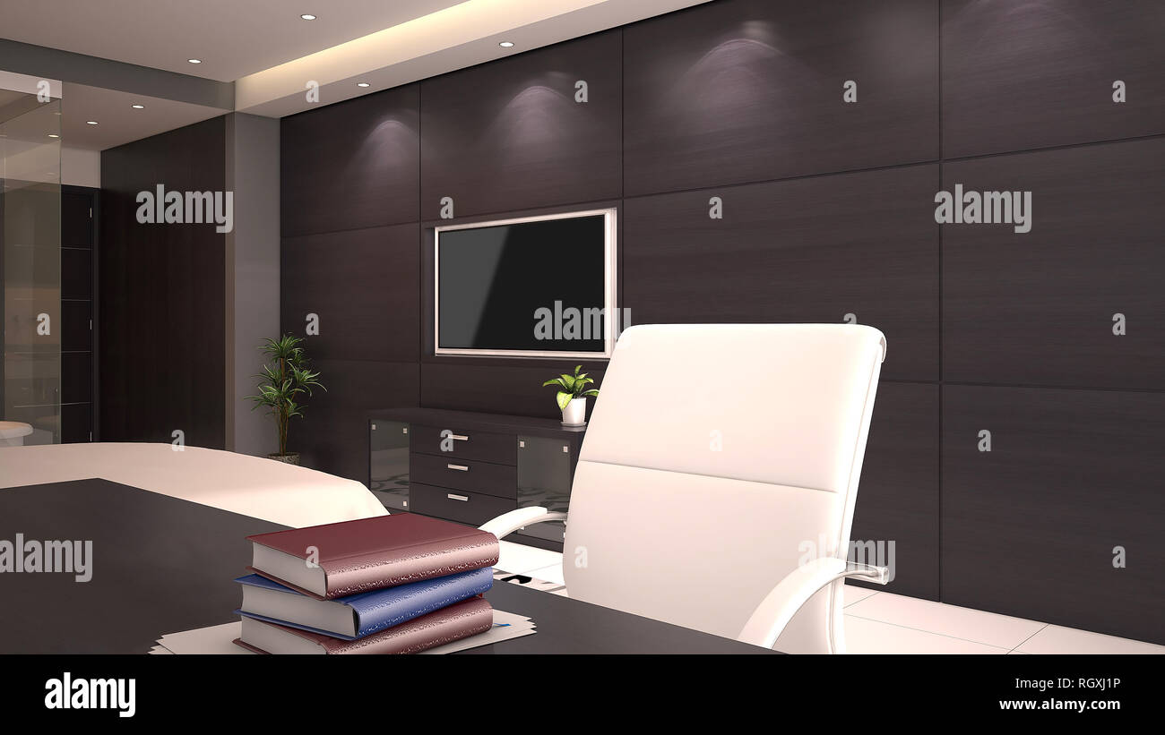 Remarkable 3D Render Of Hotel Room Office Desk With Books On Desktop Interior Design Ideas Clesiryabchikinfo