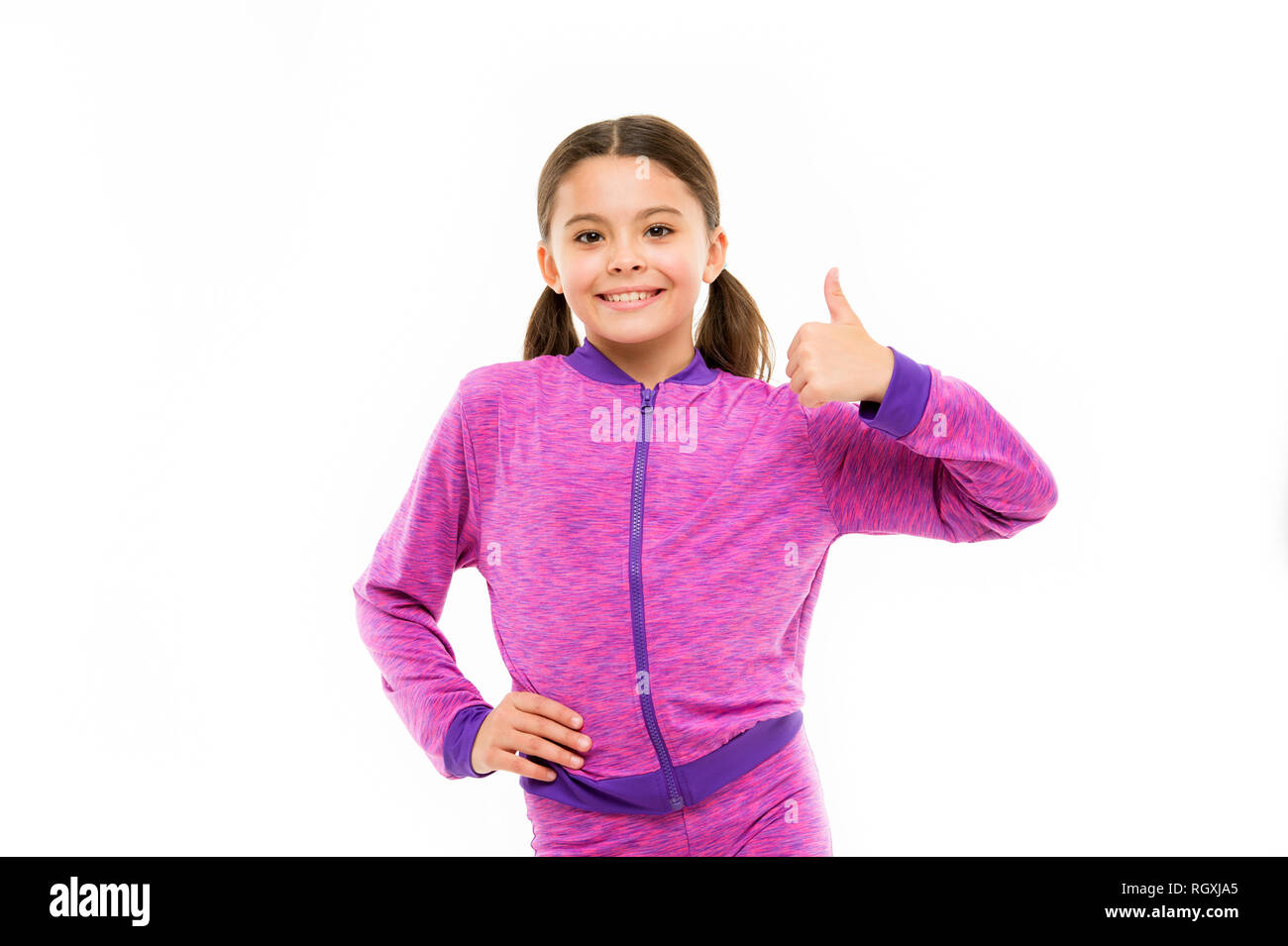 This is awesome. Girl cute child show thumbs up gesture. Gifts your teens will totally love. Kid show thumbs up. Girl happy totally in love fond of or highly recommend. Thumbs up approvement. - Stock Image